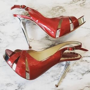 ALDO Red Leather Stilettos Size 8